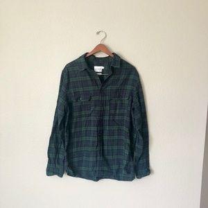 Navy/Green Plaid Flannel Button-Up Shirt